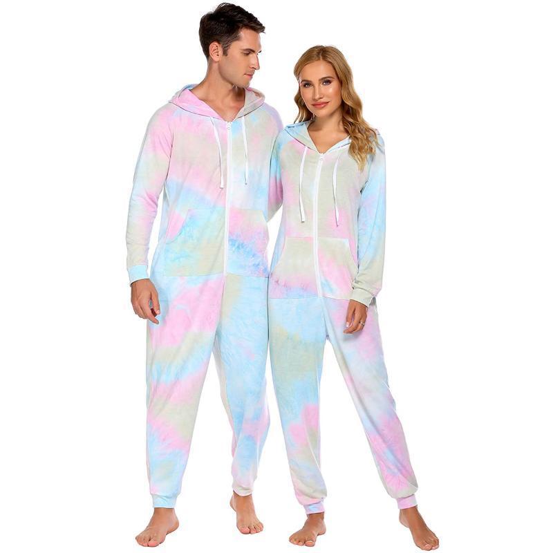 Tie-tintura um pedaço pijama casais fuzzy manga comprida não footed terno com hoodie rodada colarinho Zipper Sleepwear