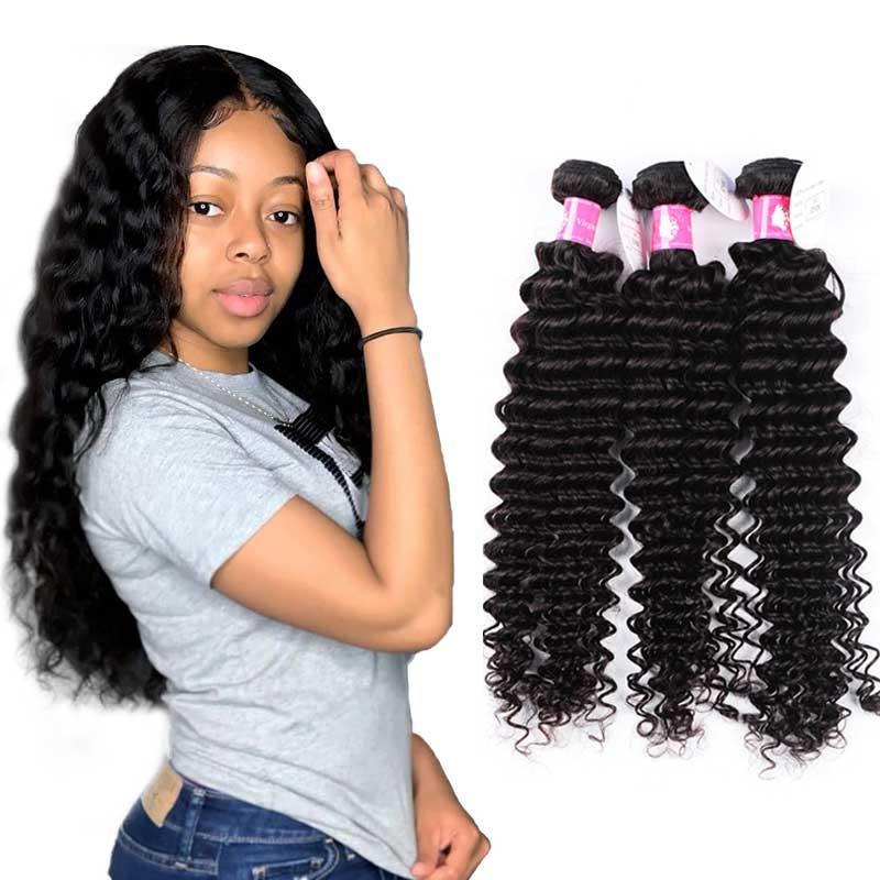10st / parti 100% peruanska mänskliga jungfruliga hårförlängningar Deep Wave Hairs 8A Grade bästa kvalitet 1B Naturfärg Partihandel Fabriks Lägsta pris