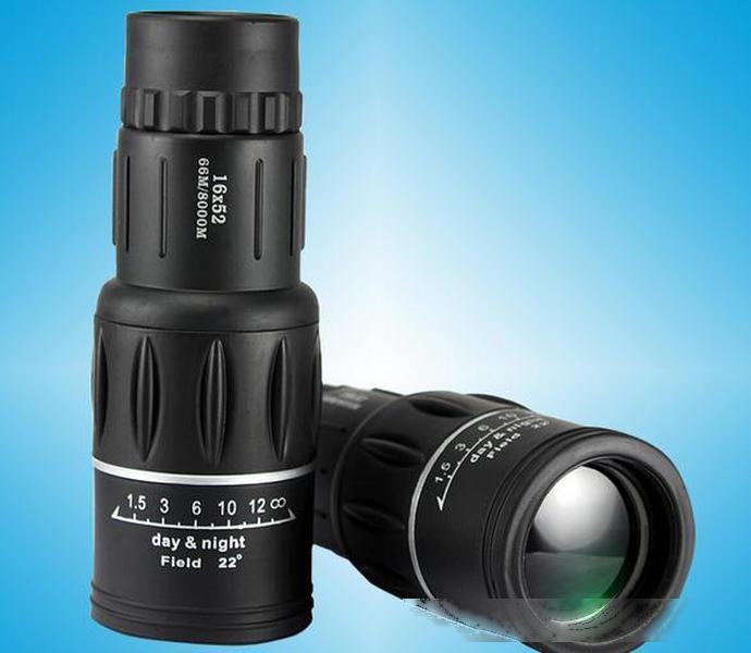 Горячее надувательство 16X52 высокое увеличение HD слабый свет ночного видения двойной регулировки монокуляр телескоп