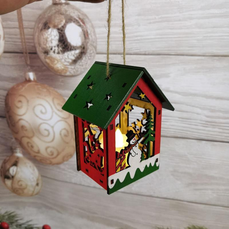 DIY Natal pintado cabine de árvore de Natal pingente de madeira casa de madeira com luzes lindas padrão diy1