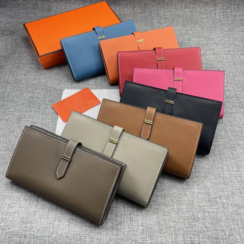 Diseñadores Bearn Billet Fashion Bule Fuchsia Calfskin Purse Oro Silver Hardware Dama Bolsos Tarjetas Slots Bolsas de mujer con caja