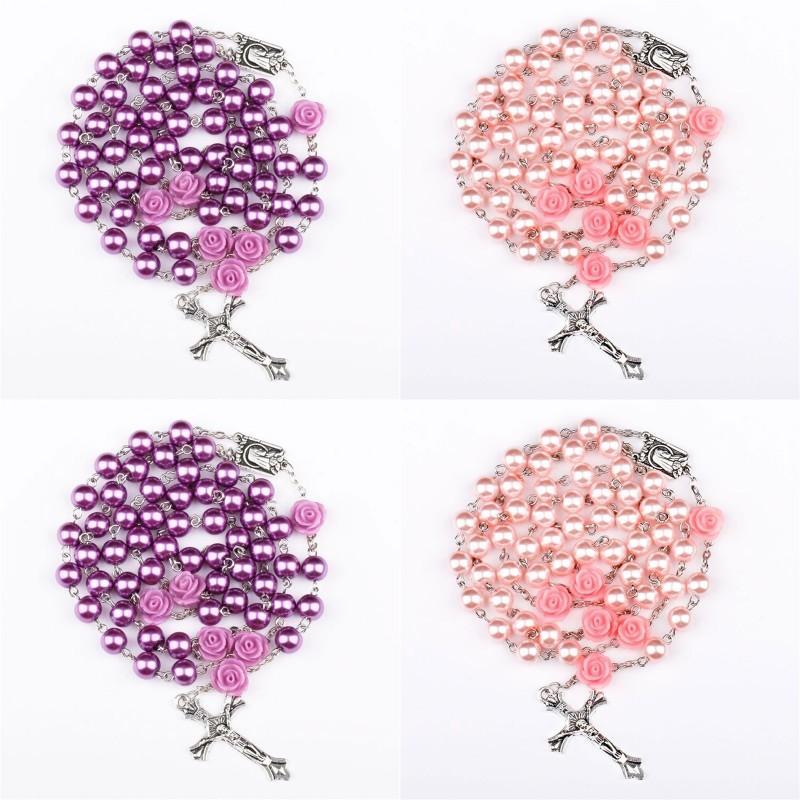 Религиозные смоделированные жемчужные бусины фиолетовые розовые католические розовые ожерелье длинные ожерелья Иисус Ювелирные Изделия 8 N2