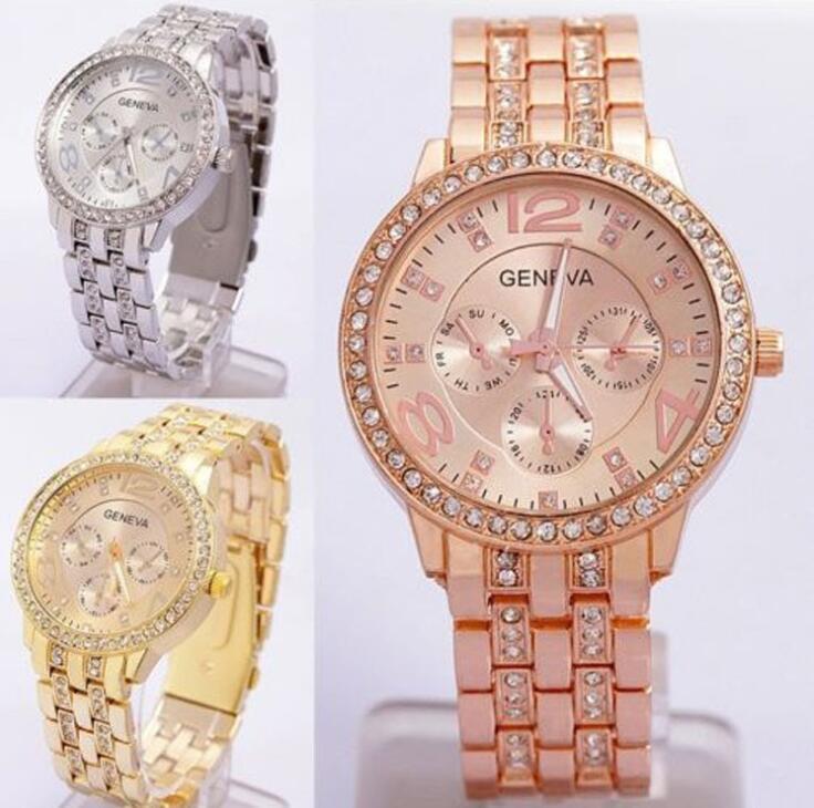 Nieuwste Mode Heren Horloges Geneva Gold Watch Dames Diamond Flanger Legering Crystal Horloge Europese en Amerikaanse stijl