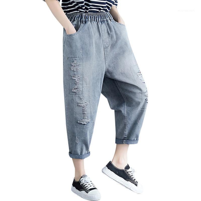 Kırık Delik Denim Kadın Kot 2020 Yaz Yeni Harem Yüksek Bel Stright Ayak Bileği Uzunluğu Katı Kadın Pantolon Jeans En Kaliteli1