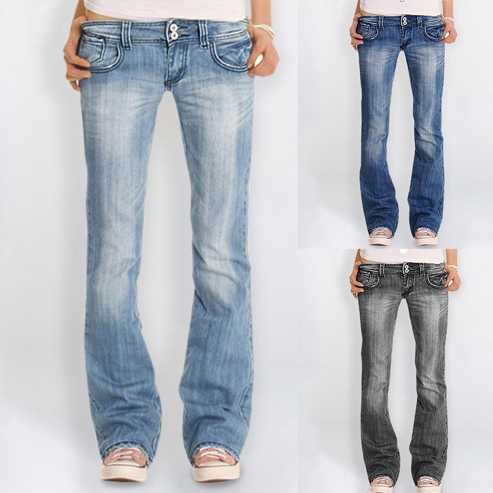 Damen Denim-Hose Jean Low Waist Ausgestelltes Lange Jeans mit weitem Bein Stretch dünne Flare-Hosen-beiläufige Light Blue Large Size