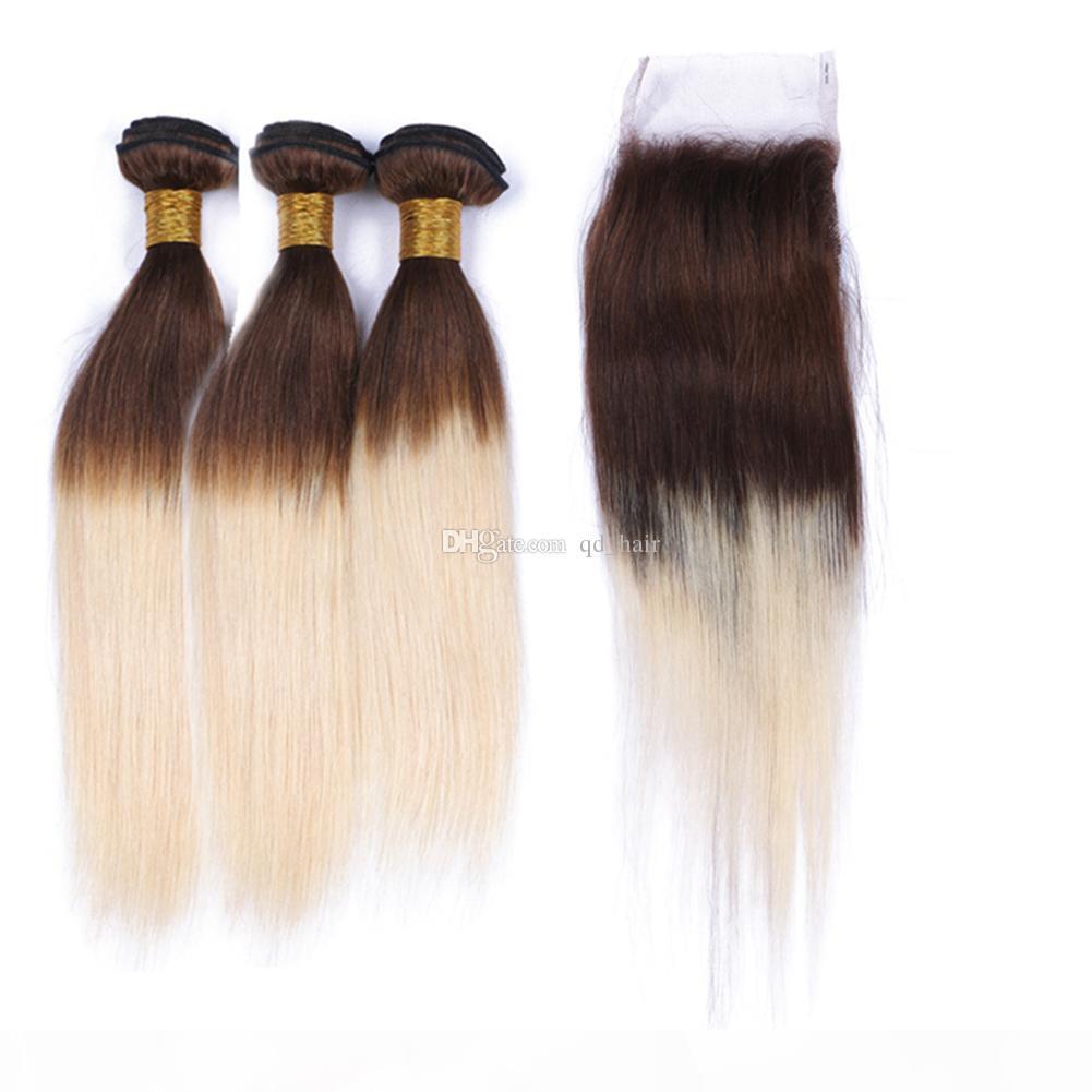 Sıcak Orta Kahverengi ve Sarışın 613 İnsan Saç 3 Paketler Dantel Kapatma Ile İpeksi Düz 4 613 Saç Dantel Kapatma Parçaları Ile Örgüler 4x4