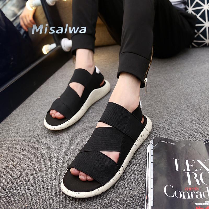 Misalwa Unisex Sandalia de zapatos de verano para hombres zapatos casuales iluminados hechos a mano 2020 cáñamo romano púrpura de sandalias de diseño negro 36-44 T200420
