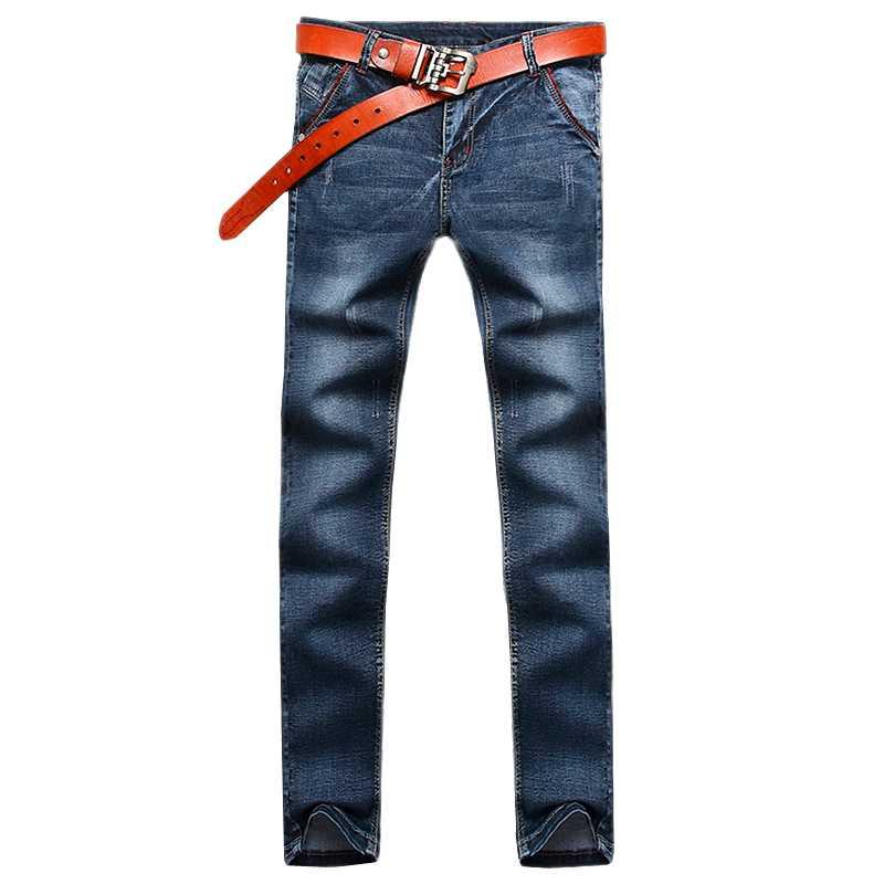 2021 Brand Uomini Primavera Autunno Autunno Regular Fit Jeans Business Casual Stretch Grigio, Blue Mens Denim Pants