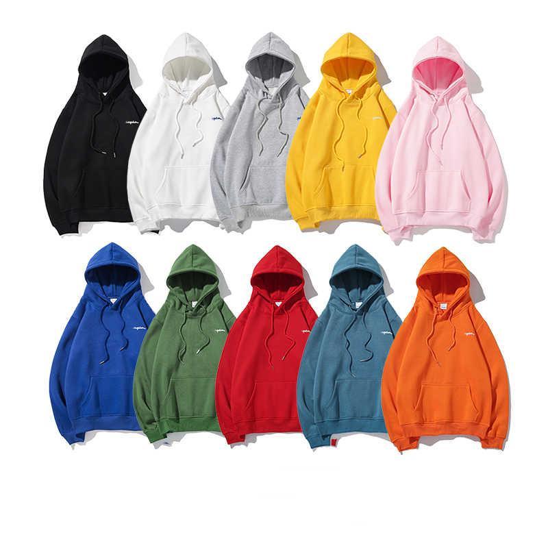 Hombres calientes Hombres para mujer con capucha con la letra impresa 20FW Nueva moda para hombre Sudaderas con capucha con capucha Sudaderas de color sólido Tamaño M-2XL