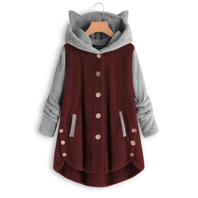 Moda Sevimli Kedi Kadın Hoodies Tişörtü Kış Sıcak Kapüşonlu Gevşek Yumuşak Patchwork Coat Lady Pijamalar Harajuku 200930 Tops