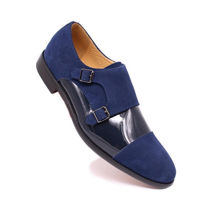 Luxury Men's Loafers Fashion Dress Genuine Leather Shoes Classic Style Elegant Men Shoes Black Blue Monk Strap Men Casual Shoes