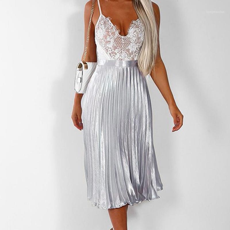 Gonne Gomprur Faldas Mujer Moda 2021 Summer Womens Sexy Ricevi vita Sequin Midi Gonna Donne Plus Size Pink Pleated Skirt1