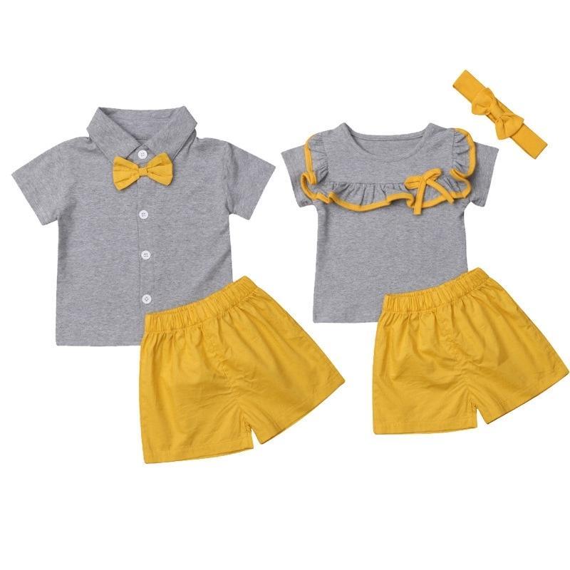 Irmãos de verão combinando roupas recém-nascido irmã irmão irmão sets de manga curta t camisa amarelo shorts gêmeos outfits A0145 Y200713