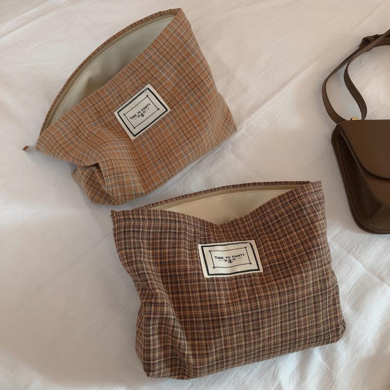 Mujeres grandes bolsas cosméticas lienzo impermeable cremallera maquillaje bolsa de viaje lavado maquillaje organizador caja de belleza