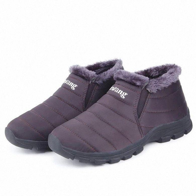 2020 Chaussures de course Femme Femmes Hiver Gardez des bottes de neige à la cheville en peluche chaleureuse, des baskets mère imperméables d'extérieur unisexe plus la taille # 6c5j