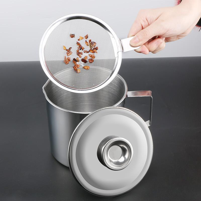 1.3L 1.8L Edelstahl Ölbehälter mit Siebküche Kochen Ölfettfettfilter Fettabscheider Schüssel Container1