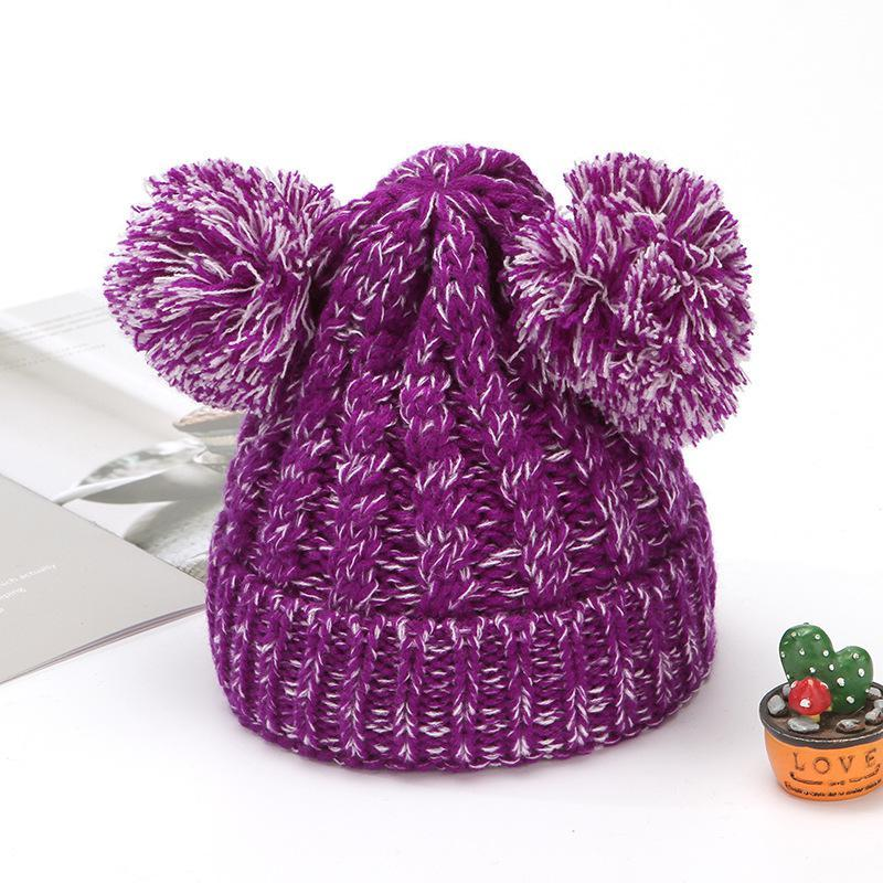 Fashion Warm Knit Beanies Hats Girls Soft Double Balls Fall Winter Thermal knitting Hat Outdoor Baby Pompom Ski Caps Party Hats BEF3365