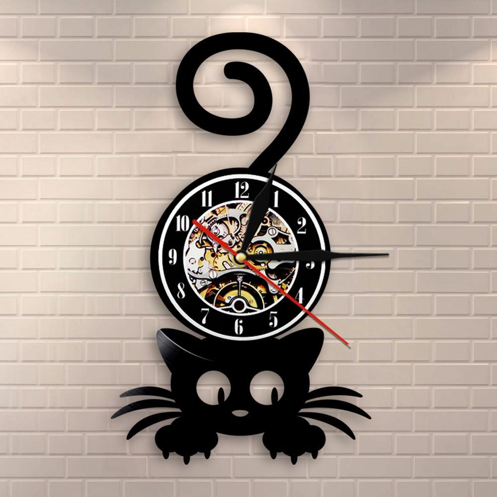 Crazy Cat Lady Mur Art Silhouette Chaton Chat avec Funny Home Home Decor Horloge murale Noir Kitty Vinyl Record Horloge Chat Animal Lover Z1207