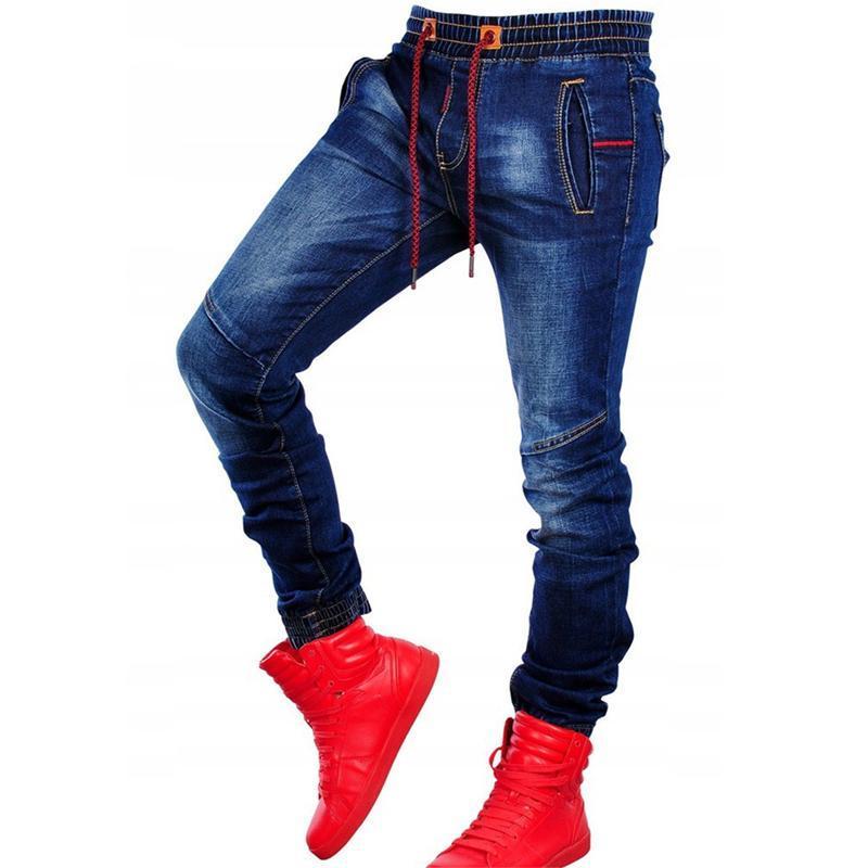 Hombres Hot Skinny Jeans Remado Patchwork Patchwork Estiramiento Denim Pantalones Elásticos Hip-Hop Jogging Lápiz Pantalones 2021 Ropa de Hombre
