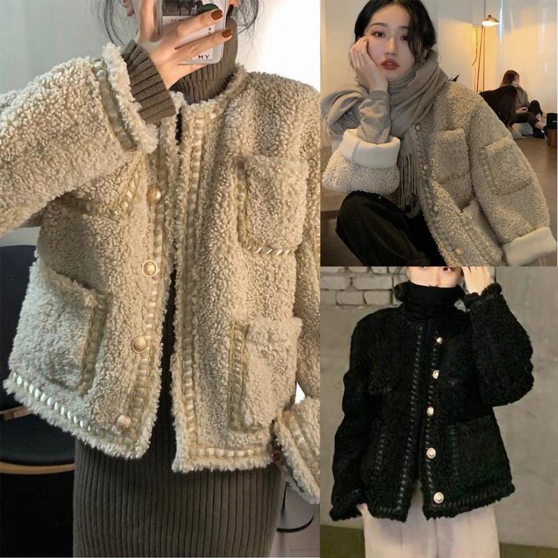 Women jacket Fashion Cashmere Winter Warm Plush Pockets Casual Fashion Long Sleeve Loose Solid Jacket Short coat Outerwear #40