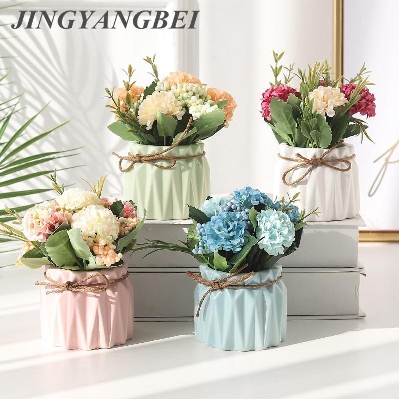 Hydrangea Hydrangea artificiel avec pot en céramique Set faux fleur vase décoratif maison balcon de bureau de bureau1