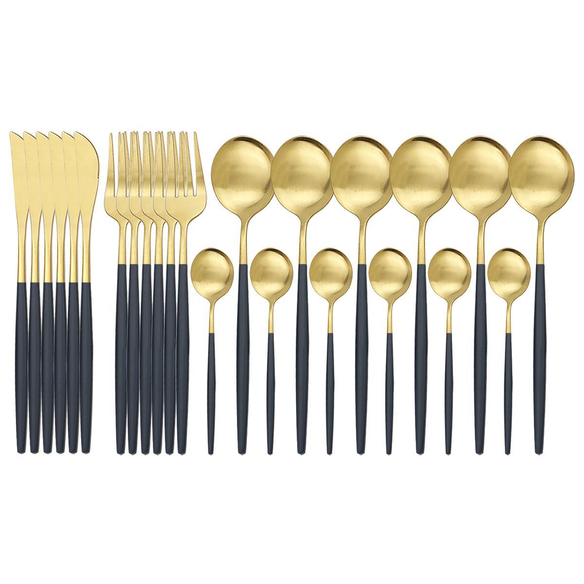 24 adet Mat Siyah Altın Çatal Seti 304 Paslanmaz Çelik Yemek Seti Bıçak Çatal Kaşık Silverware Set Mutfak Sofra Takımı Z1202