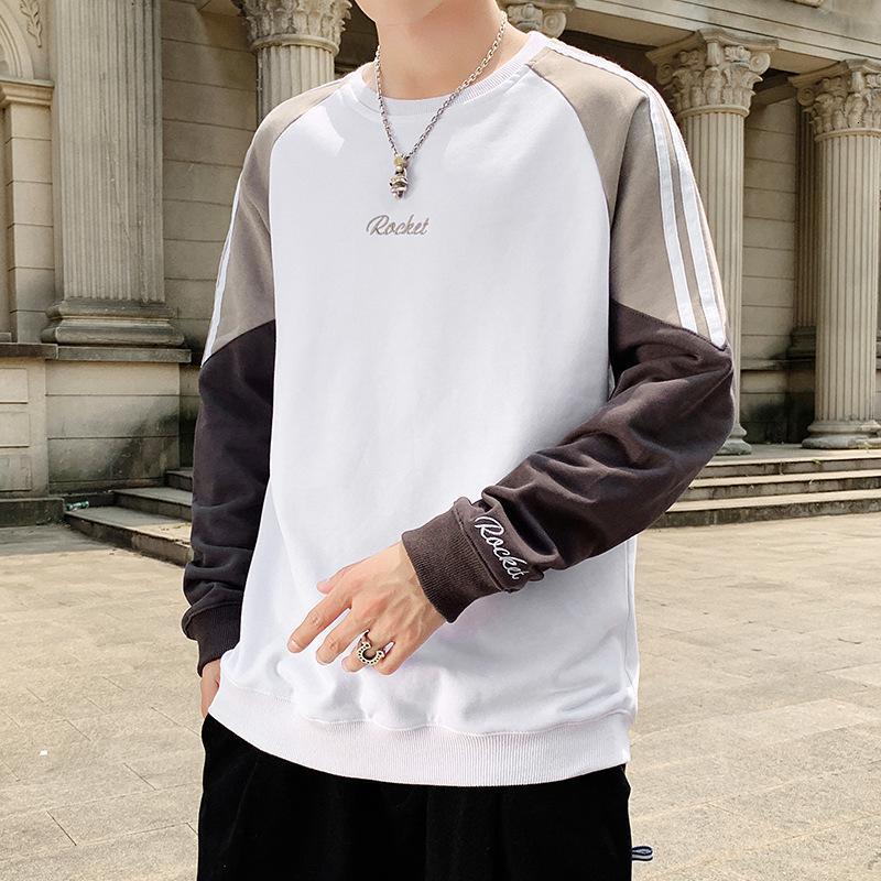 Erkek t-shirt moda kazak, 2020 dibe kazak öğrenci gömlek, gevşek ilkbahar ve sonbahar t uzun
