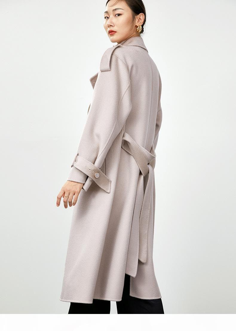 2020 Sonderanfertigte Womens X-Long Rosa Doppelseitige Kaschmirwolle Mäntel Schildkröte Hals Lange Ärmel DHL Freies Verschiffen