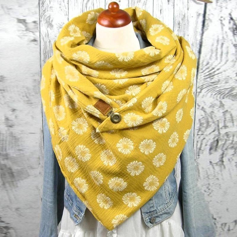 2020 Mujeres Imprimir botón suave amarillo envoltura cabeza bufandas dama casual cálido chalas mujer bufanda foulard femme envolver bufandas # t1g