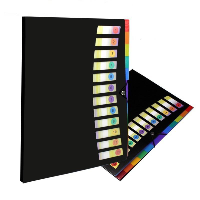 12 Cepler A4 Dosya Klasörü Öğrencileri Test Kağıt Klasörü Plastik Taşınabilir Belge Klasörü Sınıflandırma Klasörleri (4 Renk) MY-INF0624
