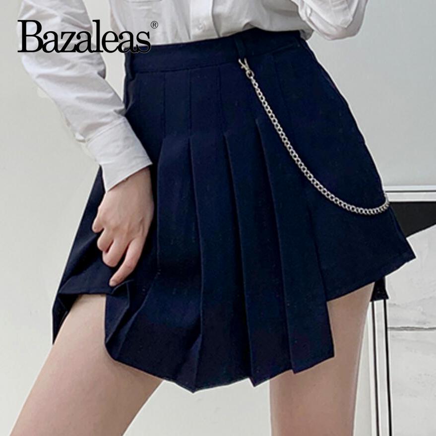 Bazaleas Harajuku Hohe Taille Röcke Womens Red Sexy Frauen Rock Mode Plissee Röcke Seitenkette Minirock Unregelmäßiger J0118