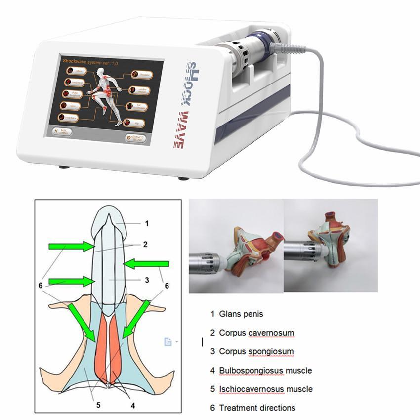 Máquina de la terapia de la onda de choque portátil Máquina de descarga eléctrica para la disfunción eréctil Terapia de onda acústica Máquina de la terapia de la onda rápida Aliviar el dolor