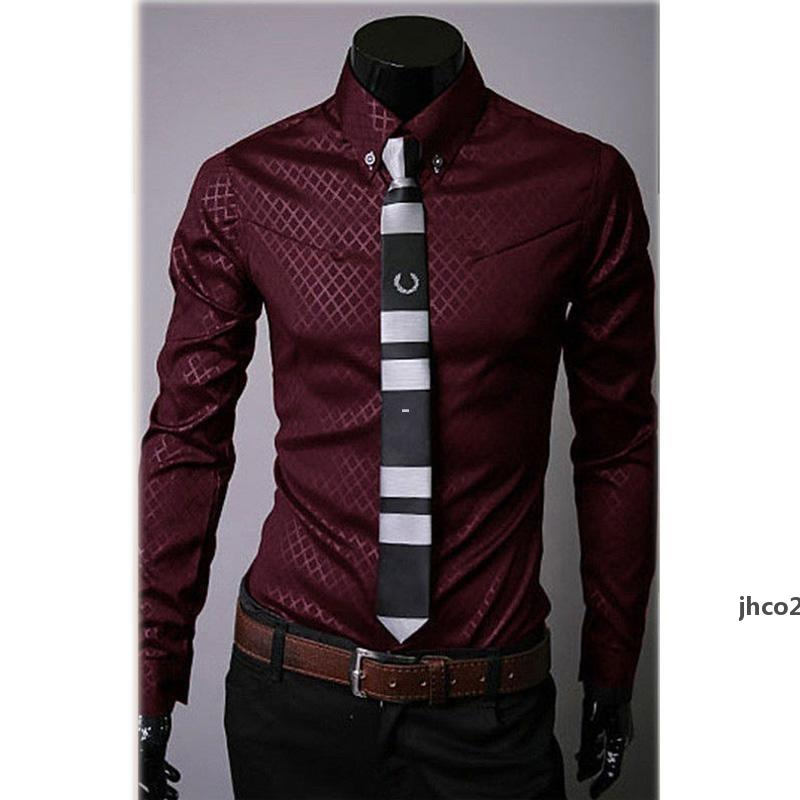 JH Toptan -Fashion Erkek Casual Gömlek Slim Fit Elbise Gömlek Uzun Kollu Düğme Tops