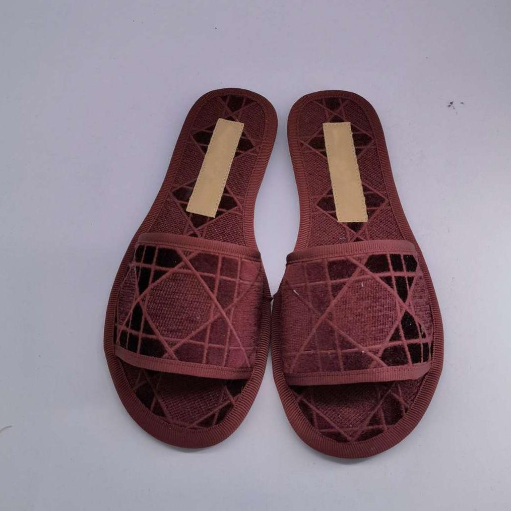 Новый дизайнер женщина тапочки моды в помещении плоское дно полость леди сандалии хлопок слайд с коробкой большой размер35-43
