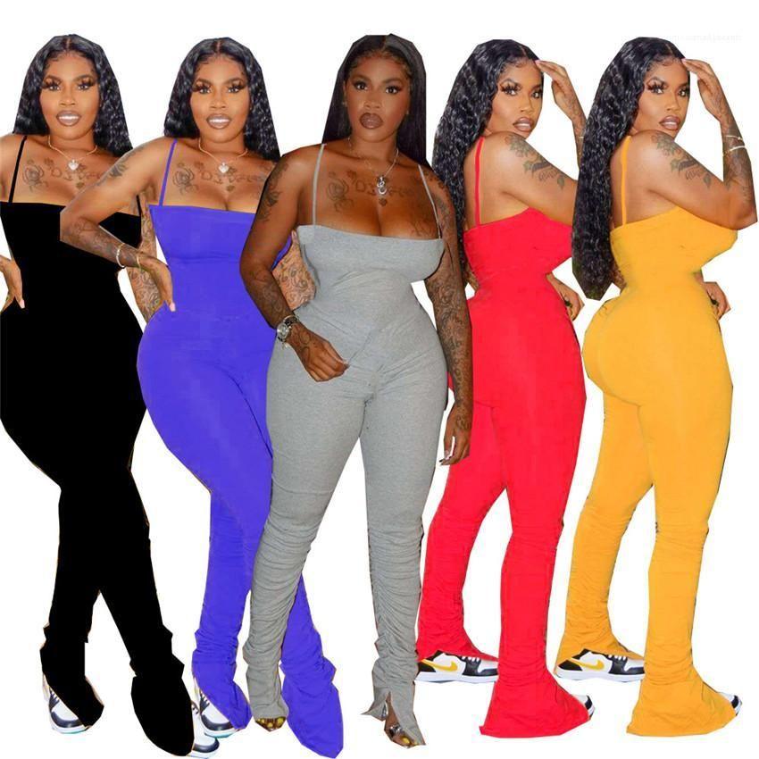 Club Frau Outfits Beiläufige dünne weibliche Kleidung gestapelte Frauen Jumpsuits Falten Spaghetti Strap Damen Strampler Sleeveless Party