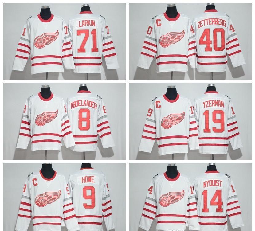 2017 Centennial Classic Detroit Red Wings Jerseys Hockey 100 aniversario 19 Steve Yzerman 13 Pavel Datsyuk 40 Zetterberg 71 Larkin Nyquisi
