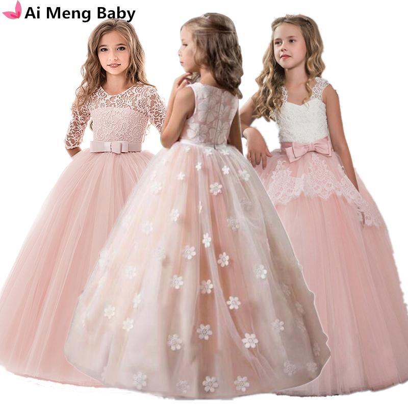 Винтажные цветочные девочки платье для свадьбы вечером детей принцесса вечеринка Pageant длинные платья детские платья для девочек формальная одежда Q1215