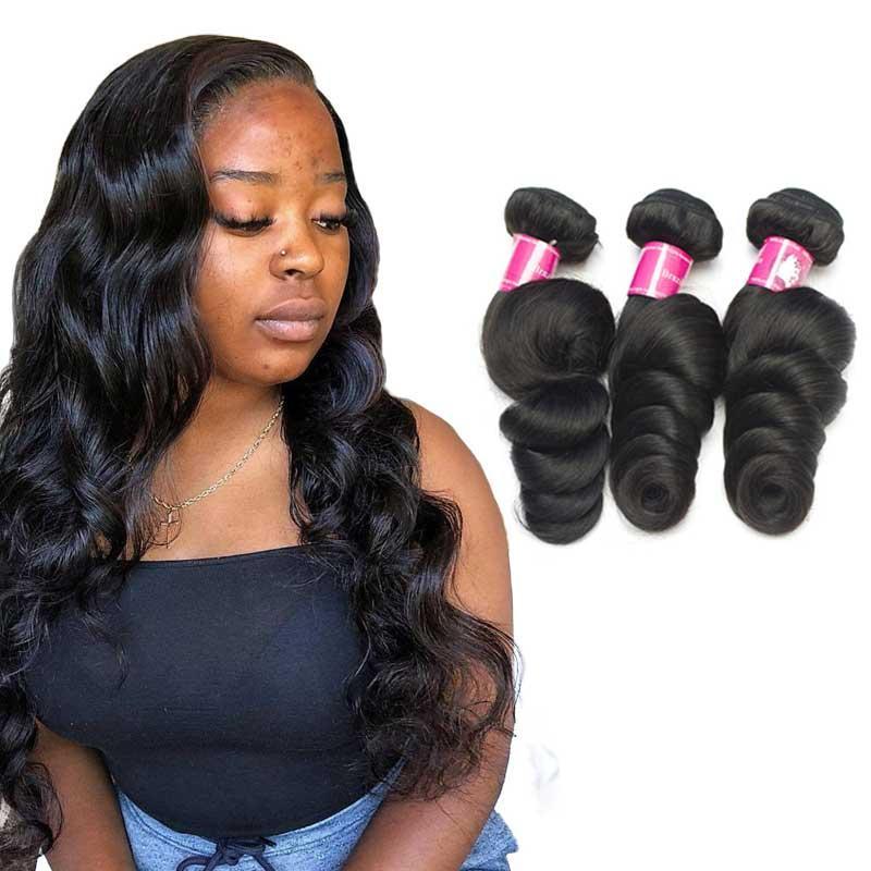 8a vierge de la vierge brésilienne non transformée cheveux humains tisser une extension de cheveux vague 3 bundles / lot 12-30inch 1B Naturel Naturel Black Theft Hair