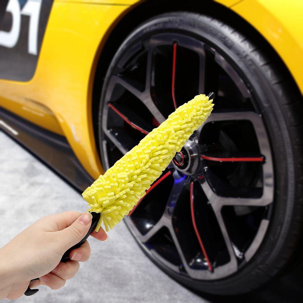 سيارة عجلة غسل فرشاة البلاستيك مقبض مركبة تنظيف عجلة الحافات الاطارات غسل فرشاة السيارات فرك السيارات غسل أدوات الإسفنج