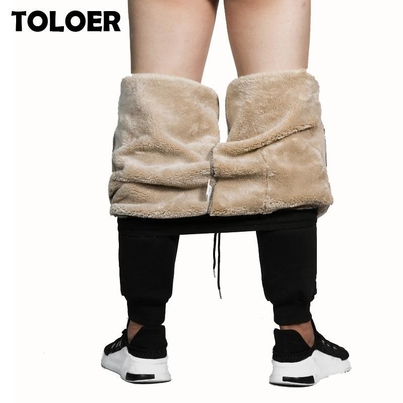 Spor Pantolon Erkekler Kış Kaşmir Kadife Kalınlaşmak Pantolon Adam Sıcak Pantolon Erkek Sweatpants Marka Giyim Erkek Elastik Bel Pantolon 201118