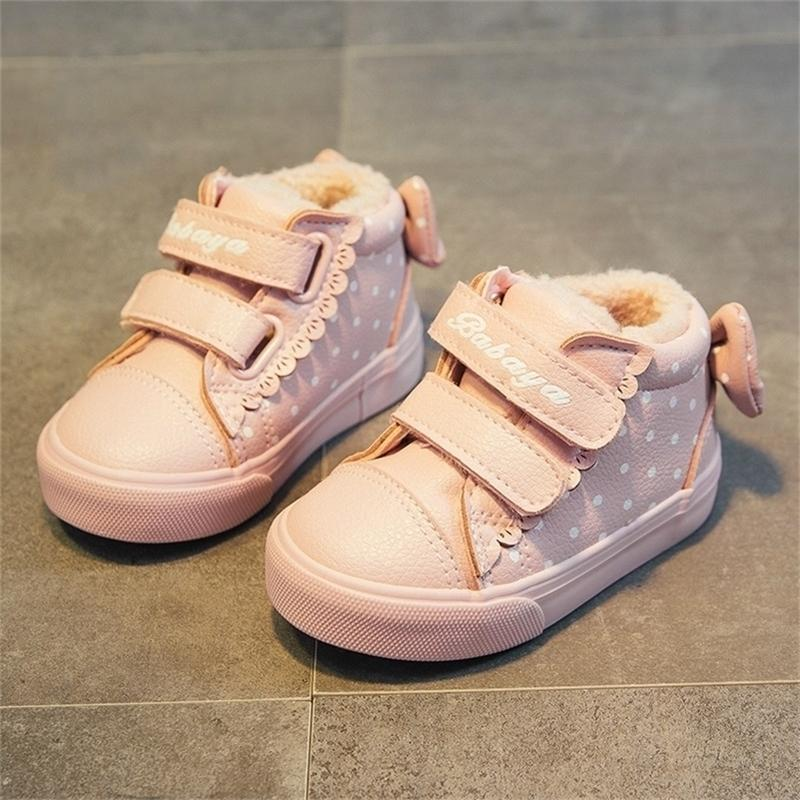 Babaya New Carino Bow Princess Baby Casual Plus Velvet Winter Shoes Girls Boots 201222
