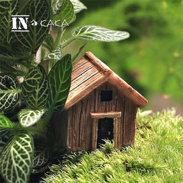 Micro Fairy Jardin Figurines Kawaii Bois Boîte Maison Miniatures / Terrarium Doll Maison Décor / Succulents DIY Ornements Accessoires C0125