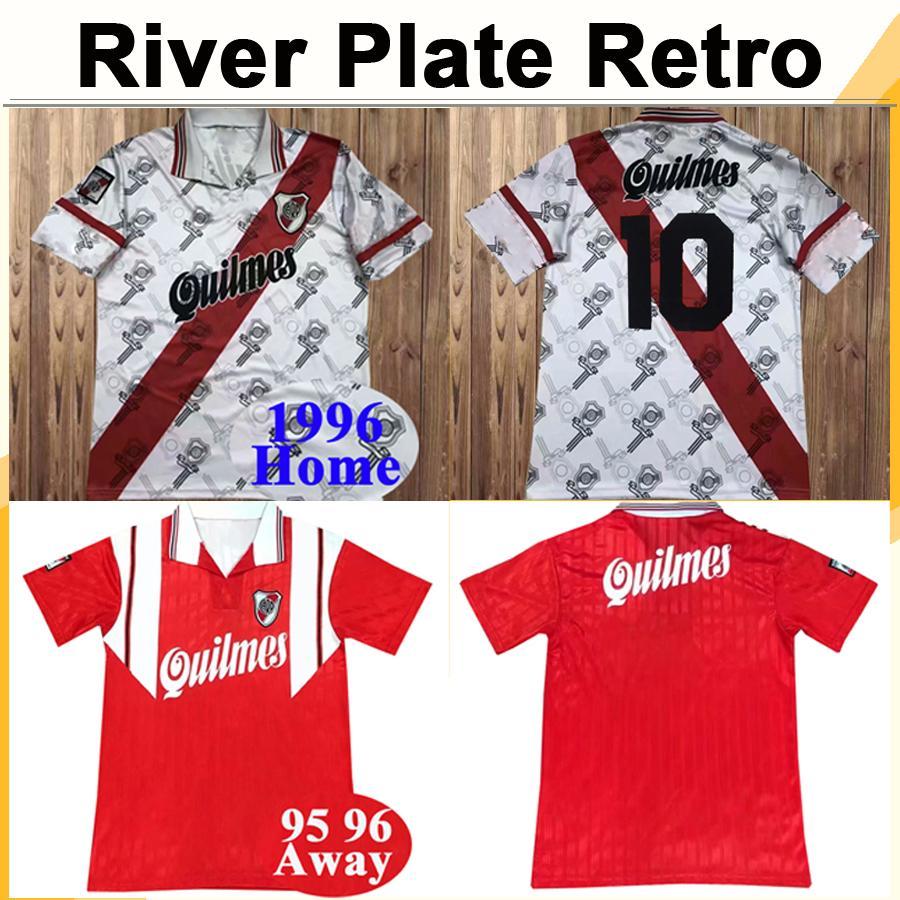 1996 River Plate Mens Retro Soccer Jersey CANIGGIA FRANCESCOLI D.TREZEGUET Home White Away Red Football Shirt Short Sleeve Uniforms