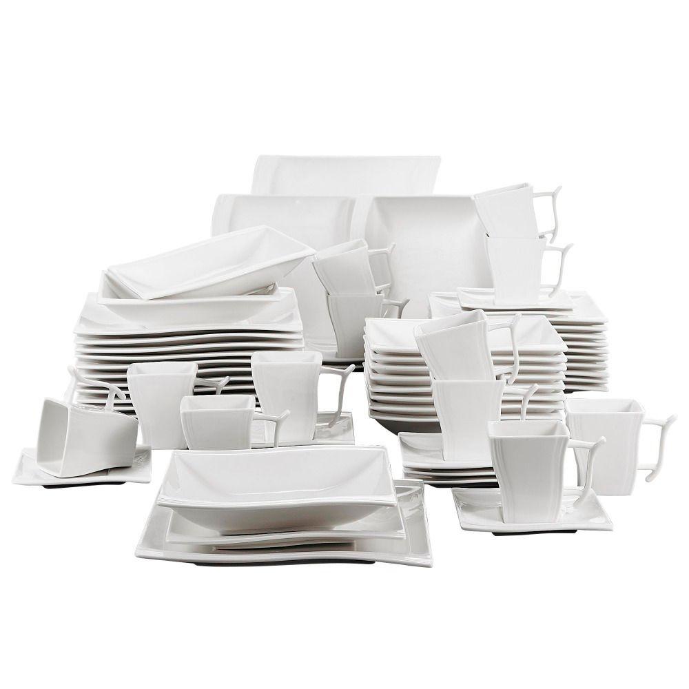 Dîner en porcelaine blanche de Malacasa Flora 60 pièces avec 12 * tasse, soucoupe, soupe à soupe de dîner de dîner dîner dîner de dîner service 12 personne C0121