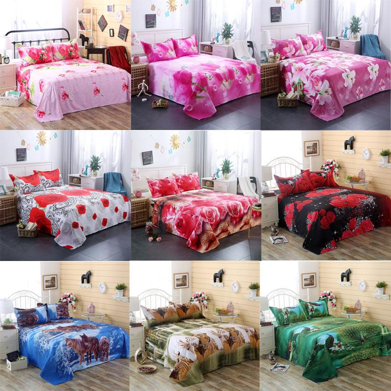 3D Bedding Sheet Pillow Case Cover Set Flower Rose Lily Peacock Animal For Single Double Twin King Bed Home Textile Hot Sale 201103