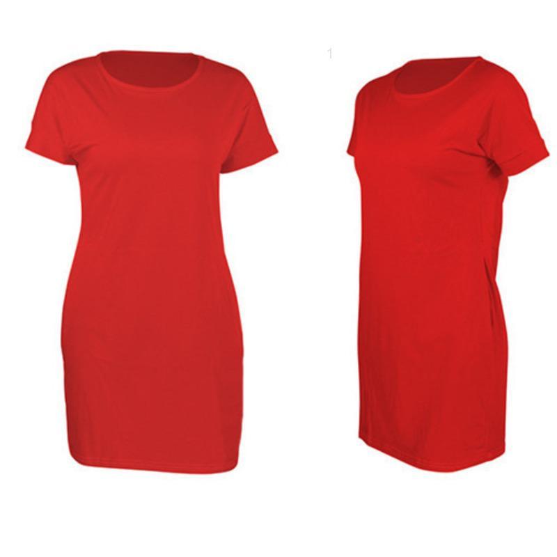Womens Casual Vestidos Moda Dress Sexy Redondo Pescoço Pulôver Solto Mulheres Manga Curta Breve22qyE2KFQ3Z1