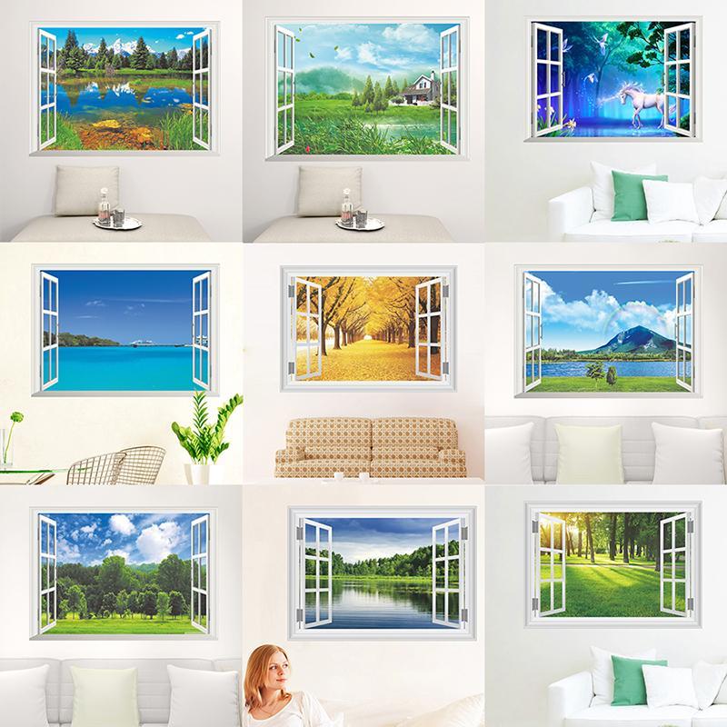 Nature Paysage Fenêtre 3D Vue Stickers muraux pour salon Chambre à coucher Décoration décorative Accueil PVC Décoration murale mural Art Art