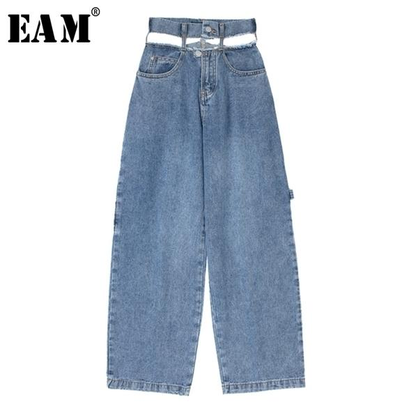 [EAM] High Waist Blue Denim Hollow Out Wide Leg Long Trousers New Loose Fit Pants Women Fashion Tide Spring Autumn2020 1X543 A1113