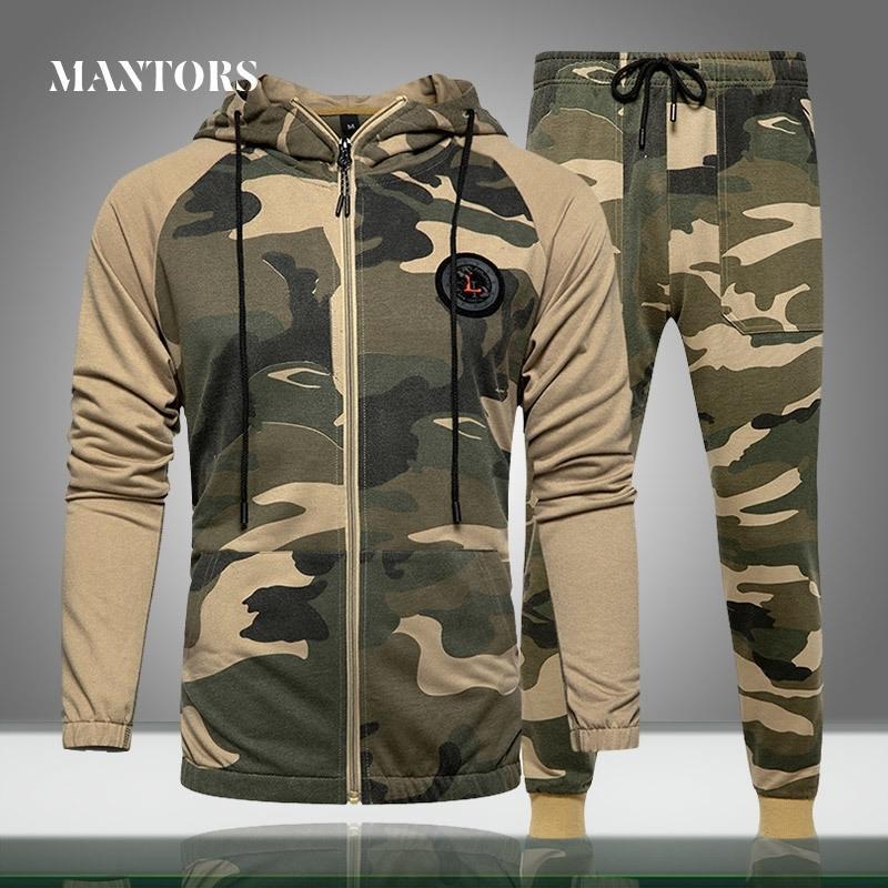 Мужчины наборы камуфляж повседневный трексуит пружины новая камуфляжная куртка + брюки наборы мужская спортивная одежда толстовка с капюшоном толстовка на открытом воздухе 201109