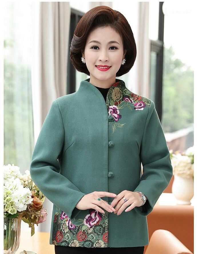 2008 New Mid-aged and Old Women's Clothes Autumn and Winter Short Mother's Wool Suit 40-50 Years Old 601